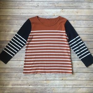 J Crew Burnt Orange & Navy Blue Striped Sweater